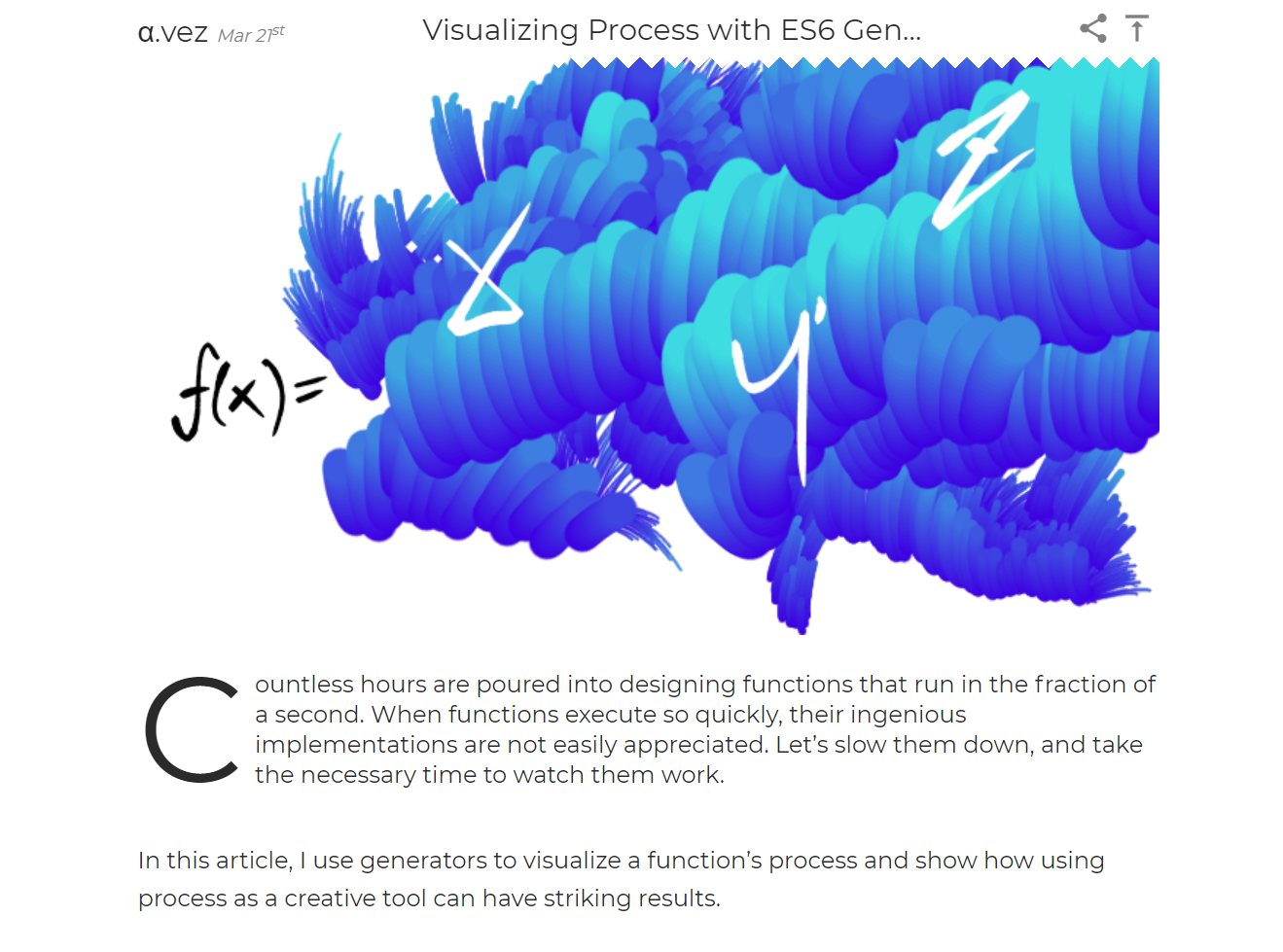 A screenshot of Visualizing Process With ES6 Generators article
