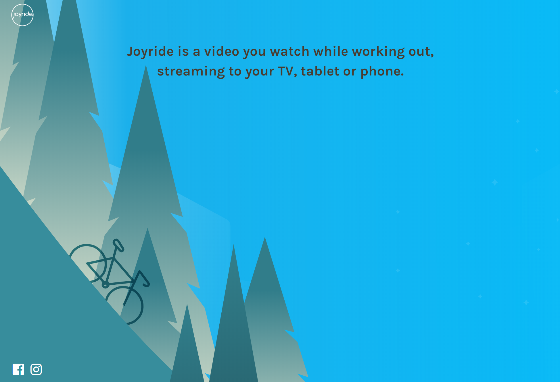 A screenshot of the middle of the joyride website