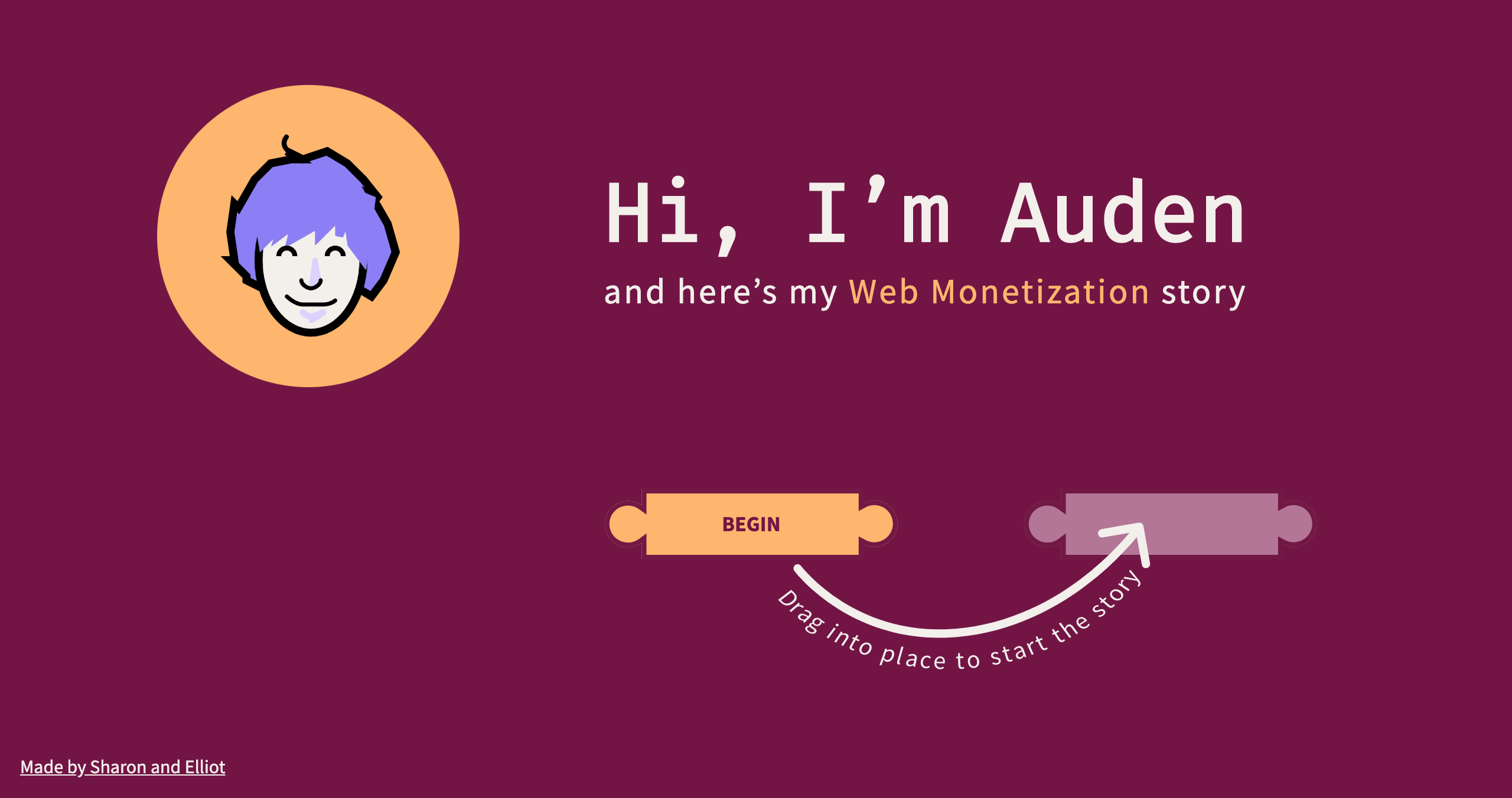 A screenshot of the landing page of 'A Web Monetization Story'